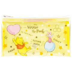 Japan Disney Clear Makeup Pouch Bag Pencil Case (M) - Winnie the Pooh & Piglet