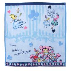 Japan Disney Alice in Wonderland Fluffy Handkerchief Hand Towel - Poker Blue