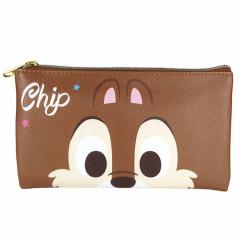 Japan Disney Pouch Makeup Bag Pencil Case - Chip & Dale Faces