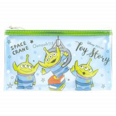 Japan Disney Clear Makeup Pouch Bag Pencil Case (M)  - Toy Story Alien Little Green Men Blue