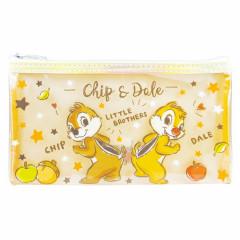 Japan Disney Clear Makeup Pouch Bag Pencil Case (M)  - Chip & Dale