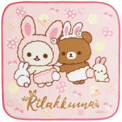 Japan San-X Rilakkuma Fluffy Handkerchief Hand Towel - Korilakkuma Chairoikoguma Easter Rabbit Pink