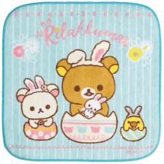 Japan San-X Rilakkuma Fluffy Handkerchief Hand Towel - Korilakkuma Easter Egg Blue