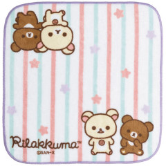 Japan San-X Rilakkuma Fluffy Handkerchief Hand Towel - Korilakkuma Meets Chairoikoguma White