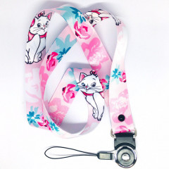 Disney Neck Strap - Marie Cat & Flowers