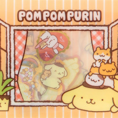 Japan Sanrio Masking Seal Flake Sticker - Pompompurin Pudding Dog with Gold Foil