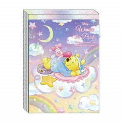 Japan Disney A6 Memo Set - Winnie the Pooh & Piglet Star Night