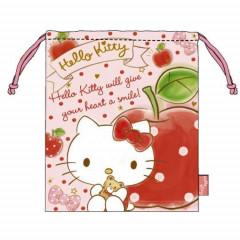 Japan Sanrio Drawstring Bag - Hello Kitty & Apple Pink