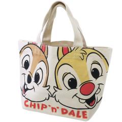 Japan Disney Canvas Mini Tote Bag - Chip & Dale Happy Face