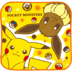 Japan Pokemon Fluffy Handkerchief Hand Towel - Pikachu & Eevee Set