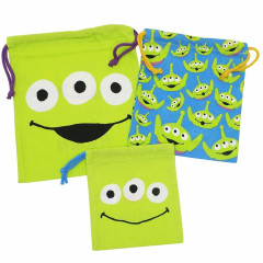 Japan Disney Drawstring Bag - Grab Little Green Men Alien Set