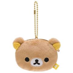 Japan San-X Rilakkuma Mini Fluffy Coin Purse Ball Chain - Rilakkuma