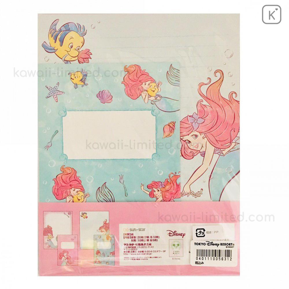 Lovely Kawaii Disney Princess Ariel Writing Letter /& Envelope SET Hallmark JAPAN