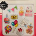 Photo Soup Flake Stickers 70pcs - Birthday - 1