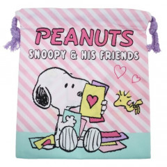 Japan Snoopy Drawstring Bag - Pink Stripe