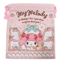 Japan Sanrio Drawstring Bag - My Melody Strawberry