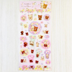 Japan San-X Rilakkuma Bear Seal Sticker - Korilakkuma meets Chairoikoguma Flower