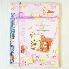Japan Rilakkuma Letter Envelope Set - Korilakkuma Meets Chairoikoguma Flower