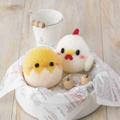 Japan Hamanaka Wool Needle Felting Kit - Squeaker Dolls Chicken & Chick