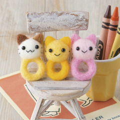 Japan Hamanaka Wool Needle Felting Kit - Nyankoro Kitten Rings