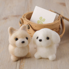Japan Hamanaka Wool Needle Felting Kit - Pomeranian & Maltese