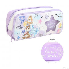 Japan Disney Pencil Case (M)  - Chip & Dale Star Purple