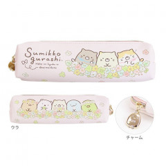 Japan San-X Pencil Case (S) - Sumikko Gurashi & Flower Pink