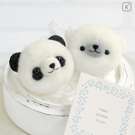 Japan Hamanaka Aclaine Pom Pom Craft Kit - Panda and White Bear - 1