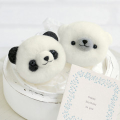 Japan Hamanaka Aclaine Pom Pom Craft Kit - Panda and White Bear