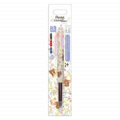 Japan San-X EnerGel 3 Color Multi Gel Pen - Rilakkuma / Korilakkuma meets Chairoikugama White