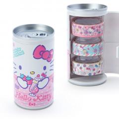 Japan Sanrio Washi Masking Tape 3 Rolls Set Can - Hello Kitty