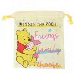 Japan Disney Drawstring Bag - Winnie the Pooh & Piglet