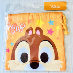 Japan Disney Drawstring Bag - Chip & Dale Faces