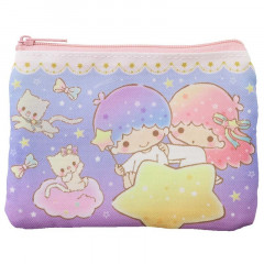 Japan Sanrio Zipper Coin Pouch With Tissue Case Bag - Little Twin Stars