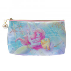 Japan Disney Pen Case Pencil Bag Cosmetic Makeup Pouch - Mermaid Ariel Watercolor
