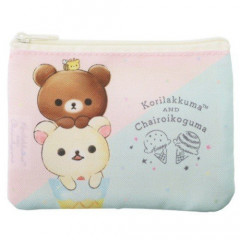 Japan Rilakkuma Zipper Pouch Coin Wallet & Pocket Tissue Holder - Korilakkuma & Chairoikoguma