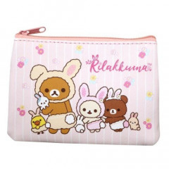 Japan Rilakkuma Zipper Pouch Coin Wallet & Pocket Tissue Holder - Easter Eggs Korilakkuma & Chairoikoguma