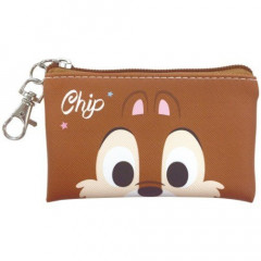 Japan Disney Coin Purse Mini Pouch - Chip & Dale Faces