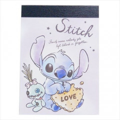 Japan Disney B8 Mini Notepad - Stitch & Scrump Love