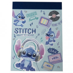 Japan Disney B8 Mini Notepad - Stitch & Music