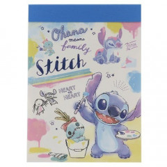 Japan Disney B8 Mini Notepad - Stitch Painting