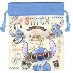 Japan Disney Drawstring Bag - Stitch Heart to Heart