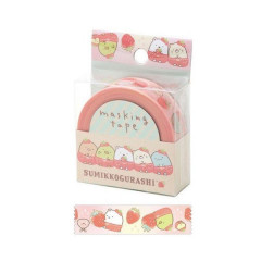 San-X Japanese Washi Paper Masking Tape - Sumikko Gurashi Strawberry 15mm × 12m