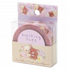 San-X Japanese Washi Paper Masking Tape - Korilakkuma & Chairoikoguma Pink 15mm × 12m