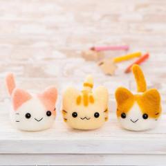 Japan Hamanaka Wool Needle Felting Kit - Triplets Kittens