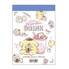 Japan Sanrio B8 Mini Notepad - Pompompurin Drink