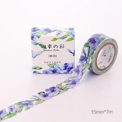 Japanese Washi Masking Tape - Blue Flowers