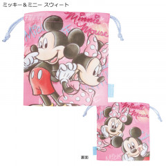 Japan Disney Drawstring Bag - Mickey Mouse & Minnie Mouse