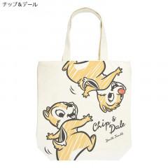 Japan Disney Cotton Tote Bag - Chip & Dale