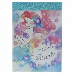 Japan Disney B8 Mini Notepad - Little Mermaid Ariel & Flora